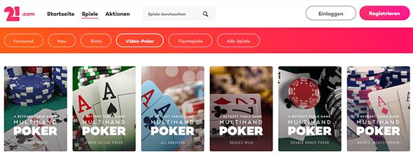 21.com Casino Poker