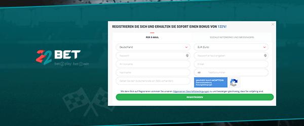 22bet Sport Registrierung