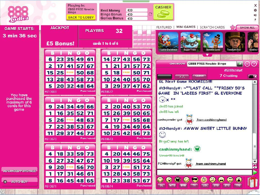 Beispiel für einen Bingo Raum bei 888ladies