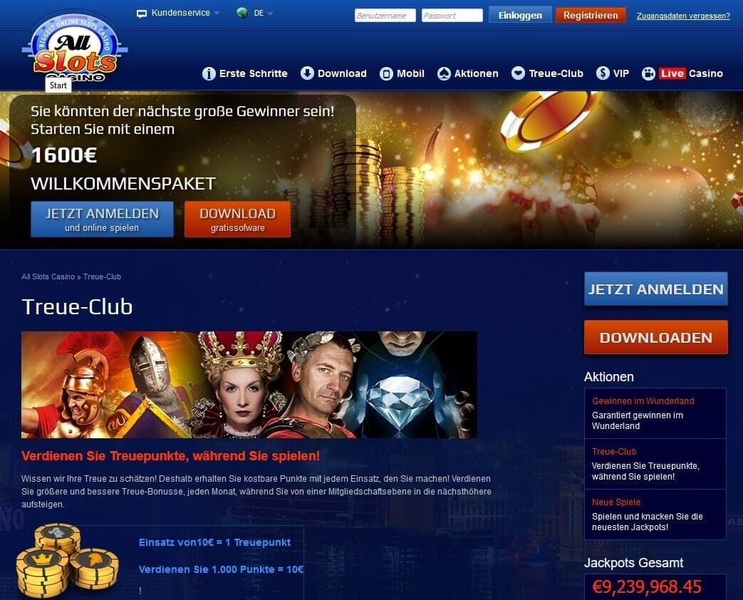 Screenshot All Slots Casino Treue-Club Level