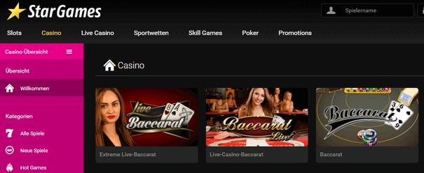 Baccarat mit PayPal bei StarGames