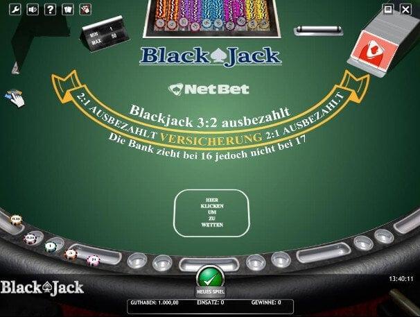 Klassisches Blackjack umsonst bei Netbet spielbar