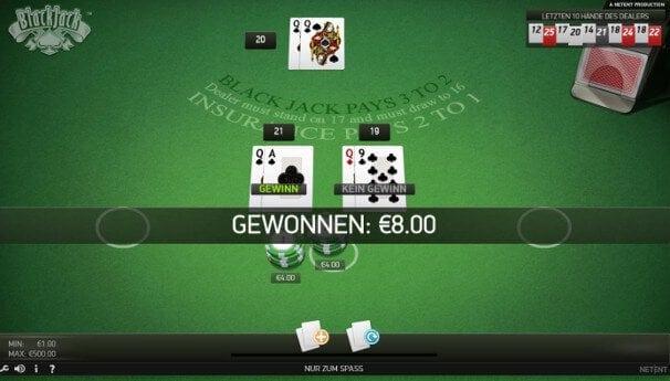 Der Spieler gewinnt einmal und verliert einmal