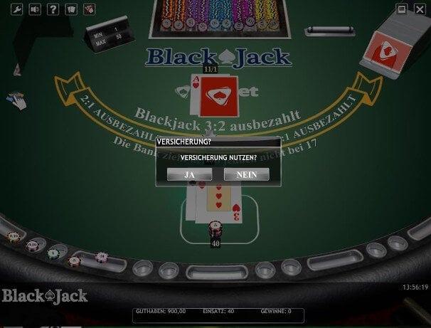 Der Spieler kann die Versicherung gegen Blackjack nutzen