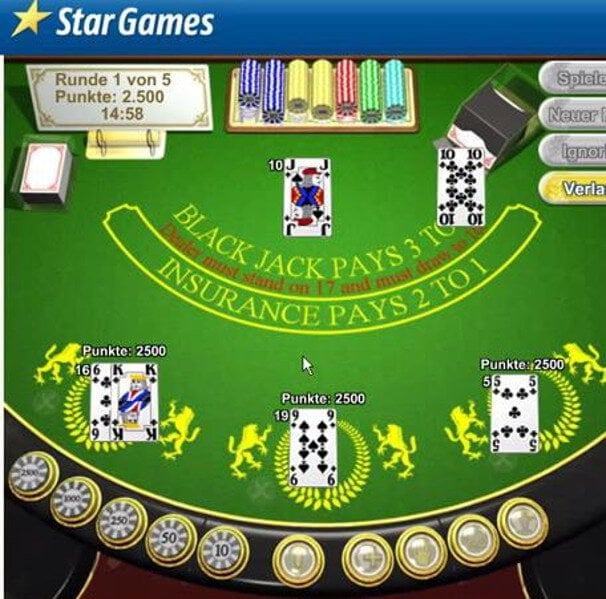 Der typische Bildschirm beim Blackjack Duell im Stargames Casino
