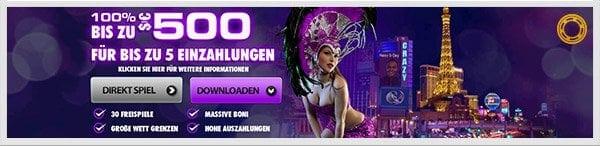 Crazy Vegas Casino Bonus: Bis zu 500 Euro bei 5 Einzahlungen
