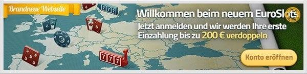 Euroslots Bonus: Bis zu 200 Euro für neue Kunden