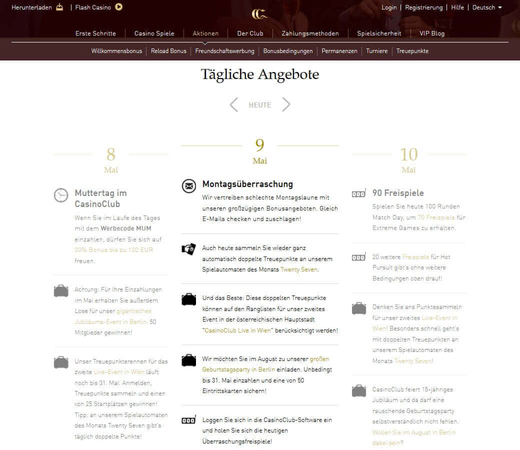 Screenshot Casino Club Tagesaktionen