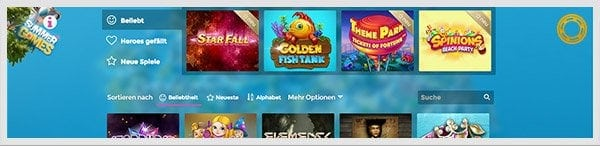 Casino Heroes Spieleangebot