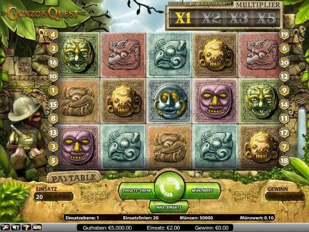 Gonzos Quest in der Spielauswahl eines Casinos weiß zu überzeugen