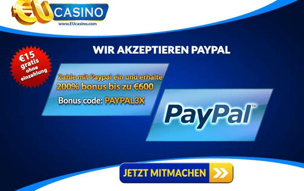 PayPal Bonus Code nutzen und für PayPal Einzahlung belohnt werden