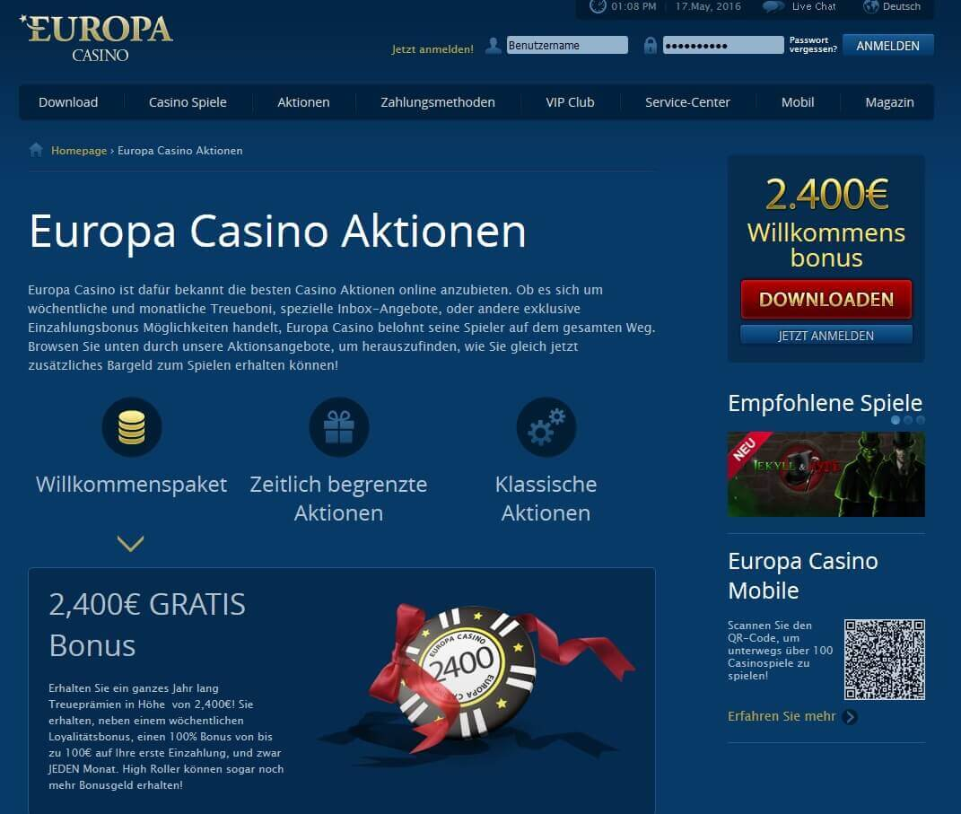 Europa Casino Aktionscode