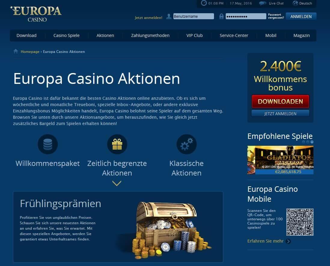 Screenshot Europa Casino Prämienaktionen