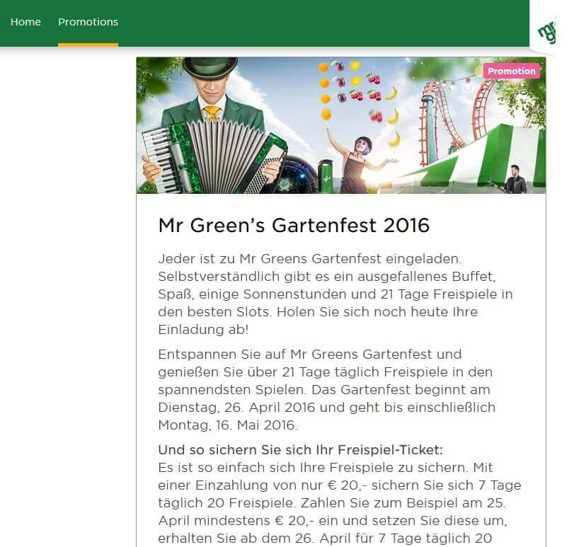 Screenshot Mr Green Aktionskalender