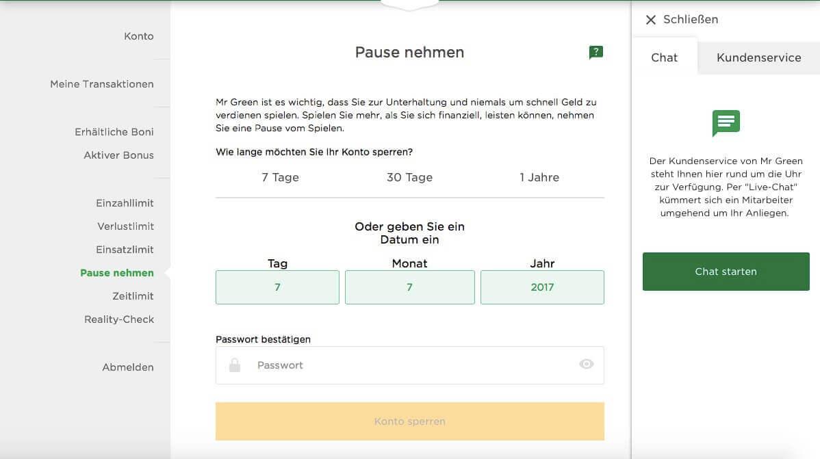 Mr Green Konto löschen 1