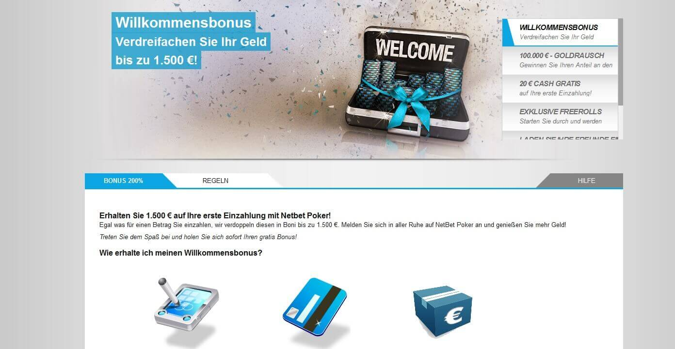 Bis zu 1.500 Euro Bonus bei NetBet nutzen