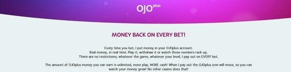 PlayOJO Cashback OJOPlus Angebot