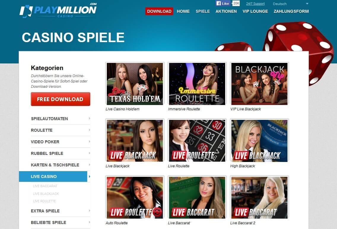 Screenshot Playmillion Casino Live Games Übersicht
