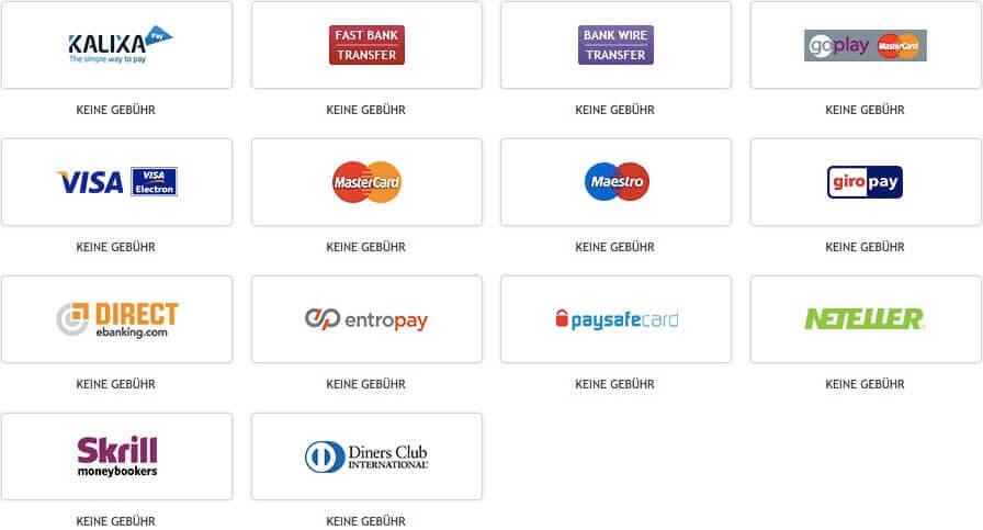 Beliebige Auswahl an Zahlungsmethoden