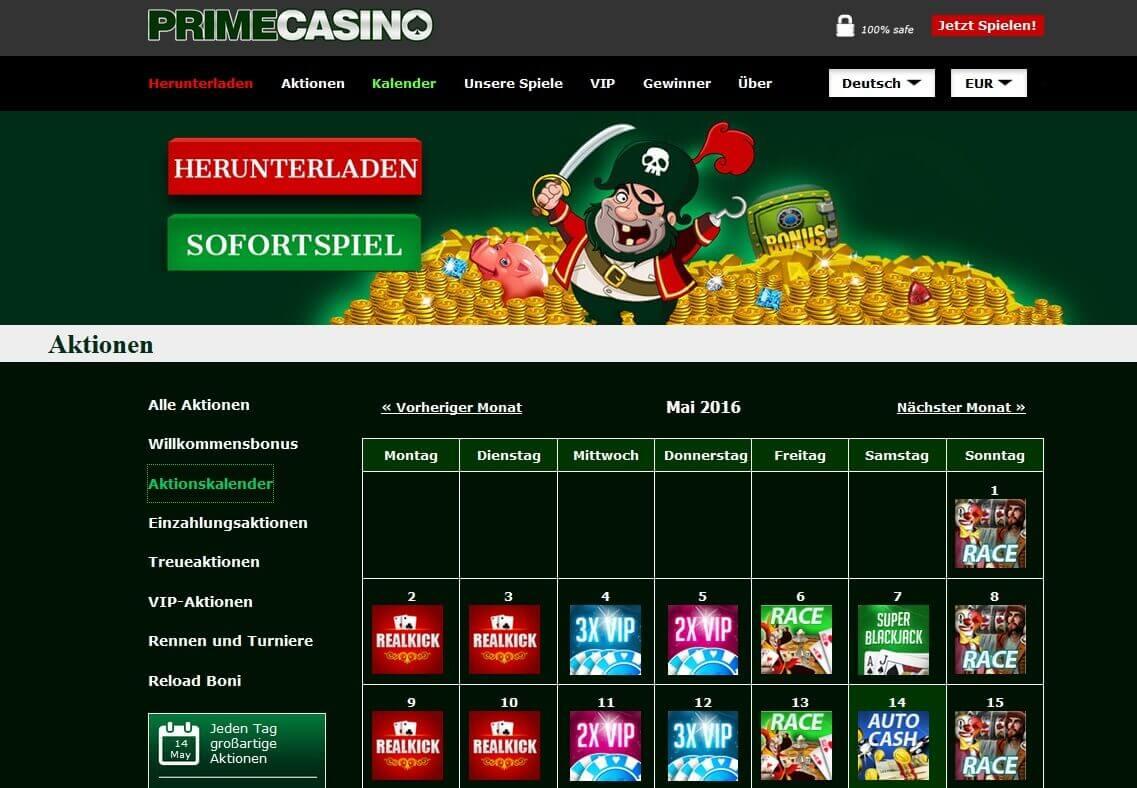 Screenshot Prime Casino Aktionskalender