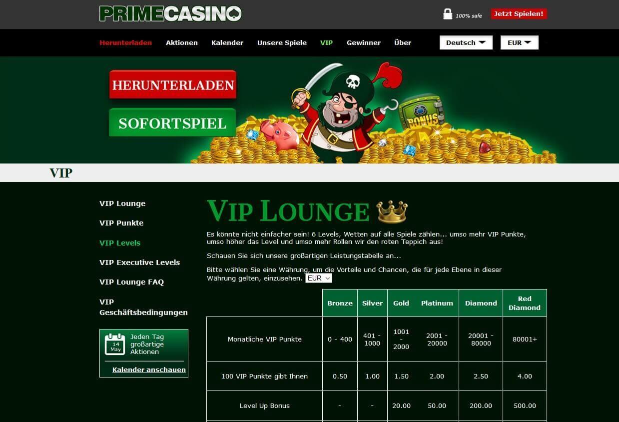 Screenshot Prime Casino VIP Club Level