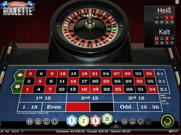 Beim Amerikanischen Roulette gibt es zwei Nullen