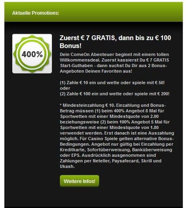 Bei ComeOn gibt es 7€ ohne Ersteinzahlung