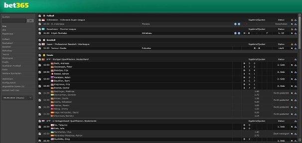 bet365 bietet auch einen Livescore an
