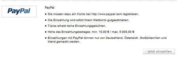 Bei Tipico sind die Zahlungsbedingungen für PayPal übersichtlich gestaltet
