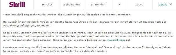 Auch Auszahlungen mit Skrill werden bei bet365 im Detail beschrieben
