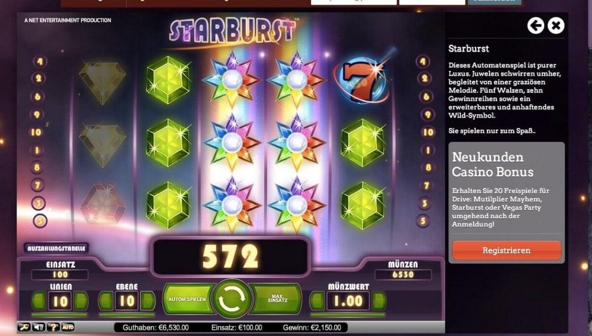 Starburst Slot mit Gewinn