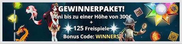Vegas Winner Bonus: Bis zu 300 Euro + 125 Freispiele