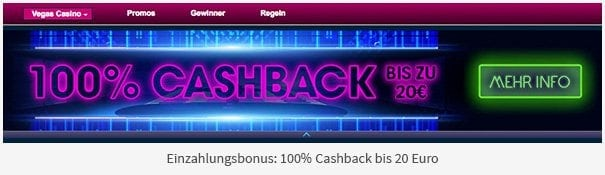 William Hill Vegas Bonus: 100% Cashback bis 20 Euro