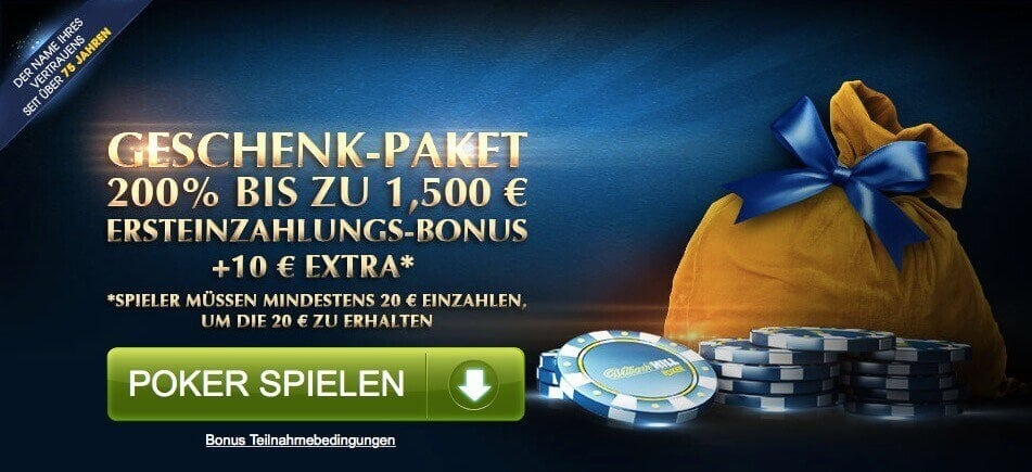 Willkommens-Paket William Hill Poker