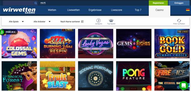 WirWetten Casino Spiele