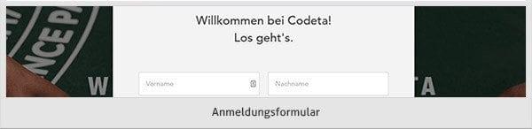 Codeta Registrierung