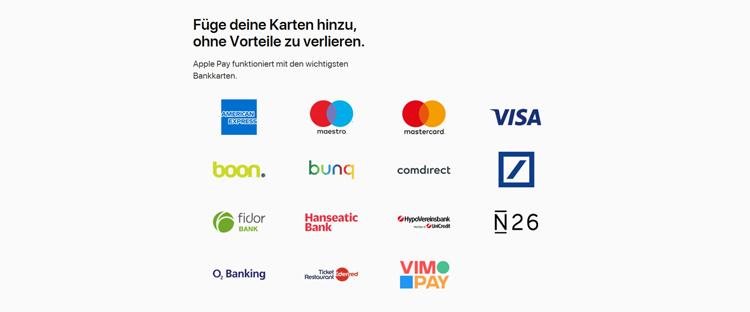 Die Zahl der Banken, die mit Apple Pay zusammenarbeiten, wächst rasant