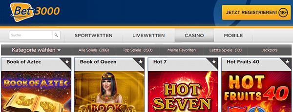 Bet3000 Casino Spiele