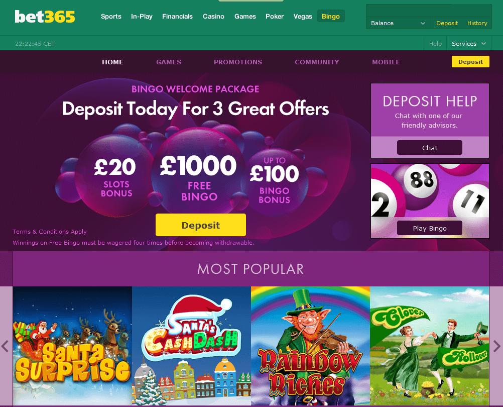 Homepage von bet365 Bingo