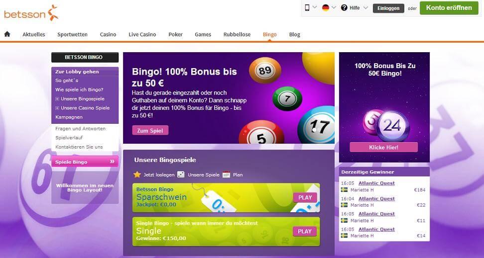 Die Webseite des Bingo Anbieters betsson