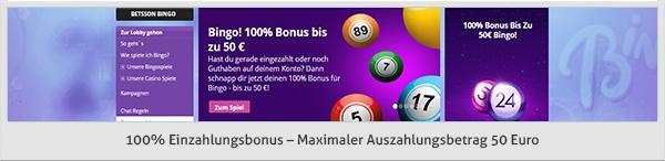 betsson Bingo Bonus