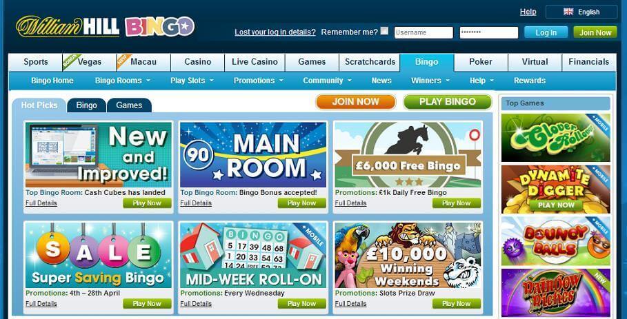 Bingo online spielen im Angebot vom William Hill Casino