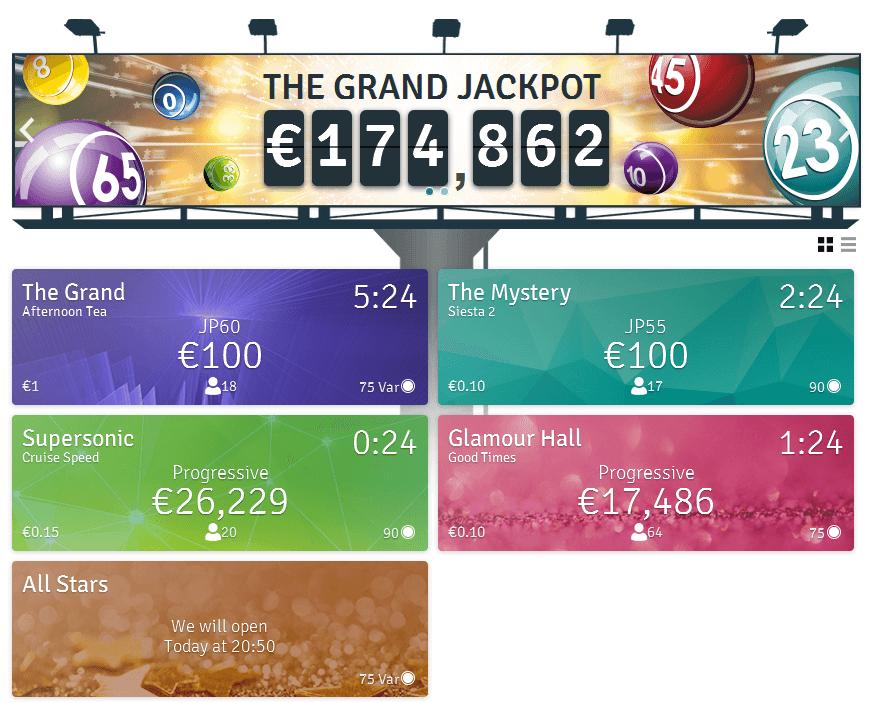 Die Auswahl der Bingo Räume bei Bingo.com