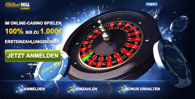 William Hill Casino begrüßt neue Kunden mit 100% bis zu 1000€ Bonus