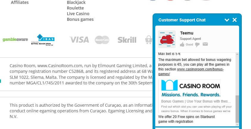 Support mit Live Chat von Casino Room