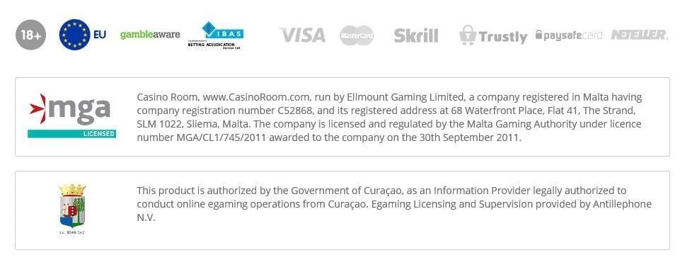 Lizenzen & Zertifikate von Casino Room sorgen für Sicherheit