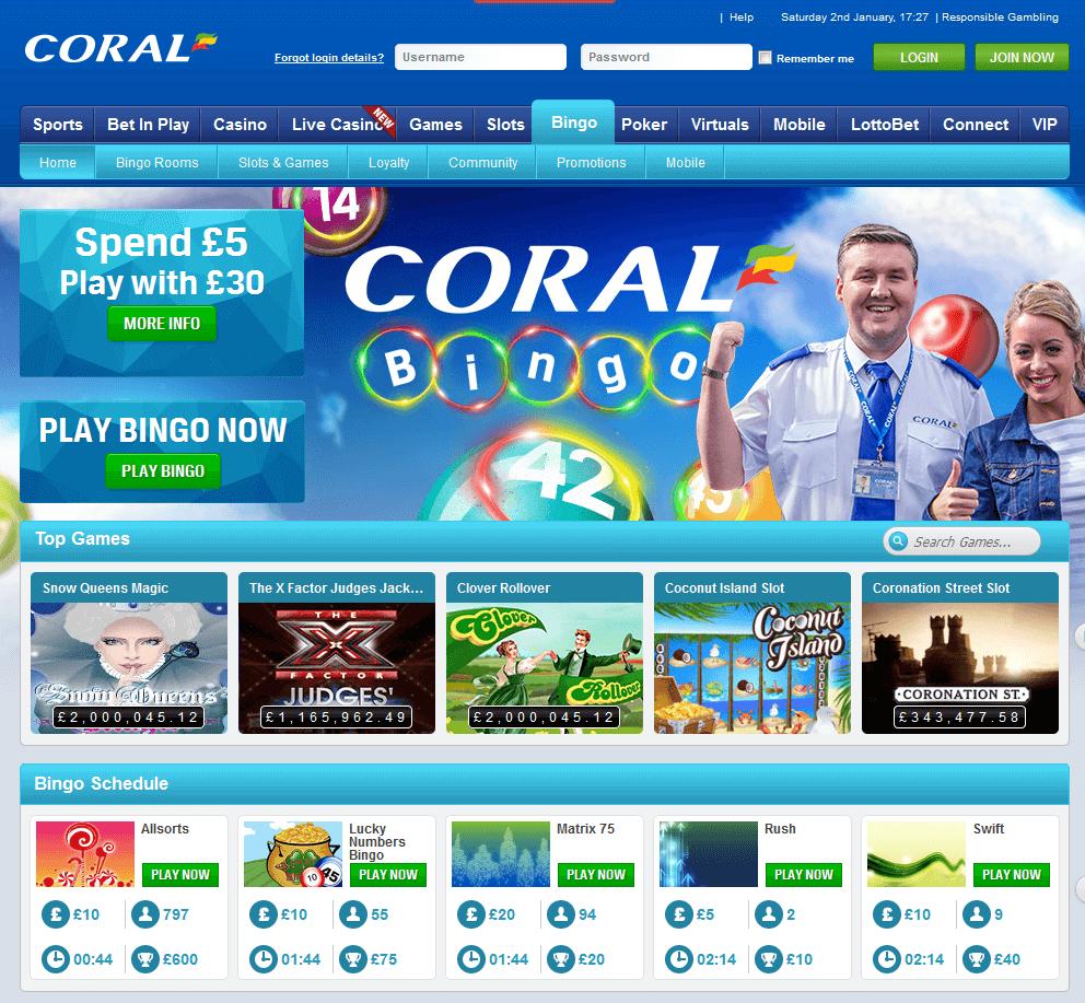 Die Homepage von Coral Bingo