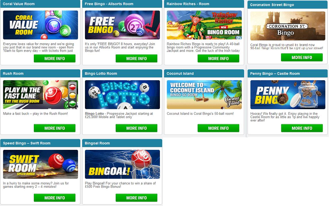 Die Spieleauswahl bei Coral Bingo