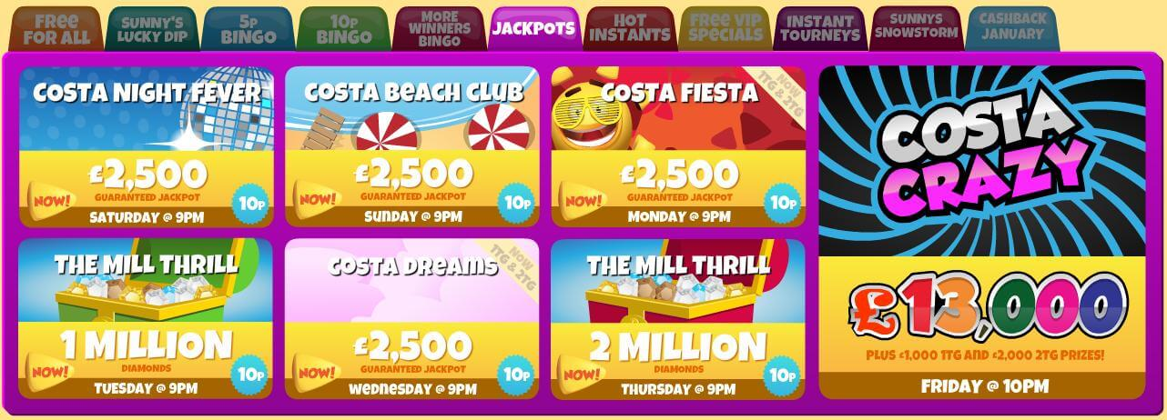 Einige der großen Jackpots bei Costa Bingo