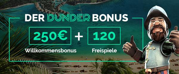 Dunder Casino Bonus mit 120 Freispielen
